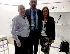 Keith Wells & Jo Naquesage with Adam Goodes, former Australian of the year, and co-director of the Indigenous Defence Consortium, at Pacific 17 Exhibition, Sydney