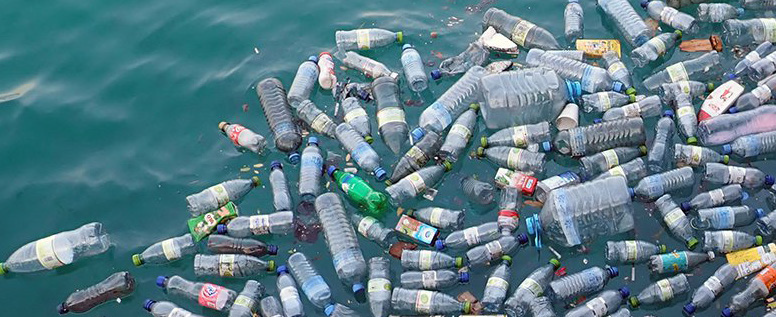 Plastic bottles destroying the ocean