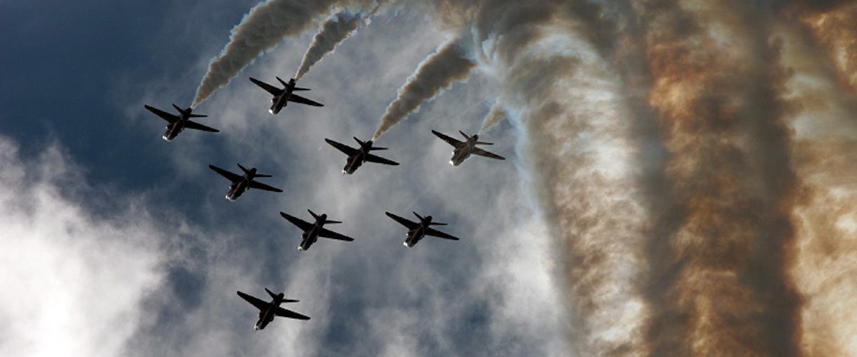 Red arrows formation smoke image