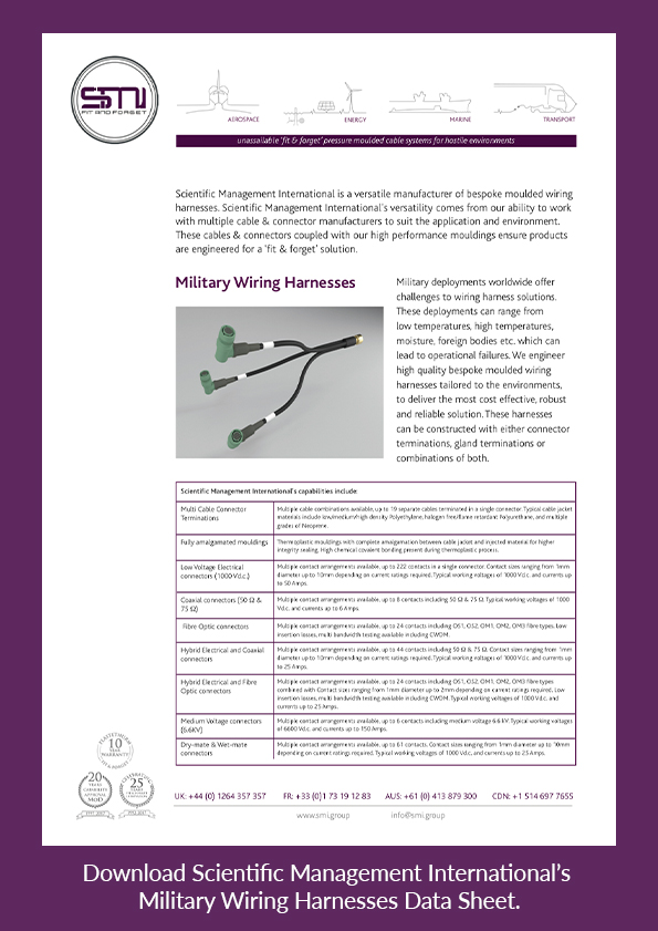 Download SMI's military wiring harnesses data sheet