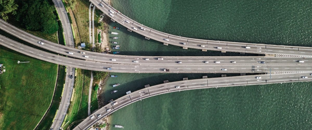 Birds eye view - roads crossing over the sea