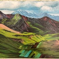 Catherine Jennings' Mountain Painting International Happiness Day
