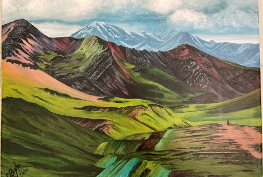 Catherine Jennings' Mountain Painting International Happiness Day